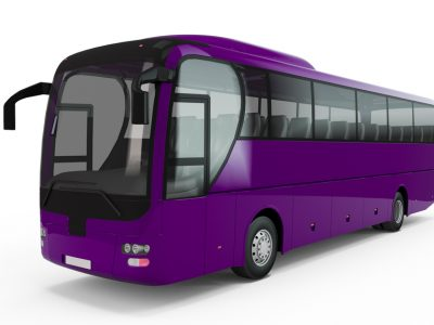 Purple big tour bus isolated on white background